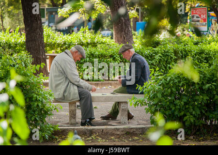PALERMO, ITALY - October 14, 2009: Old people playing cards in a city park - Stock Photo