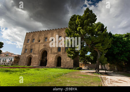 PALERMO, ITALY - October 14, 2009: The Zisa is a castle in Palermo, Sicily and is a structure of Arab-Norman and - Stock Photo