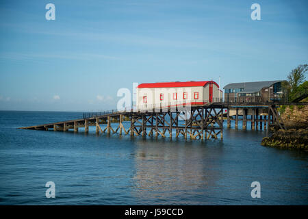 View of the old and new Lifeboat stations at Tenby, Pembrokeshire, Wales, UK - Stock Photo