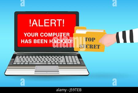 laptop computer hacked and stolen  data by hacker - Stock Photo