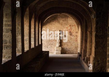 France, Herault, Saint Guilhem le Desert, labelled Les Plus Beaux Villages de France, Saint Guilhem le Desert abbey, - Stock Photo