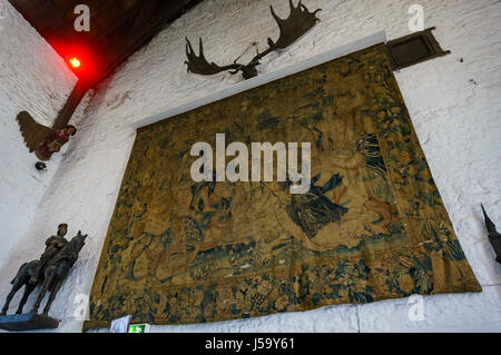 Clare, MAY 7: Interior view of the historical Bunratty Castle & Folk Park on MAY 7, 2017 at County Clare, Ireland - Stock Photo