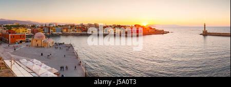 Old Venetian harbor of Chania town on Crete island, Greece. - Stock Photo