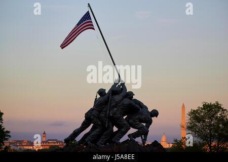 the us marine corps war memorial iwo jima Washington DC USA - Stock Photo