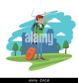 young guy traveler tourist city grass tree landscape - Stock Photo