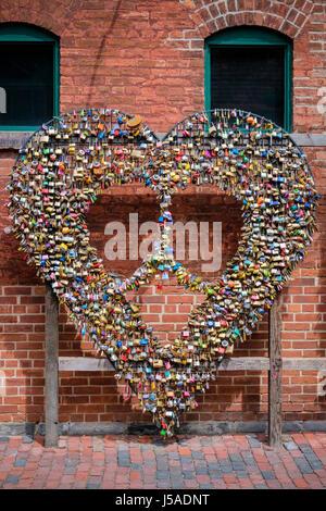 Padlocks, locks, shape of a heart, heart symbol, love symbol, love concept, valentine, love expression, Distillery - Stock Photo