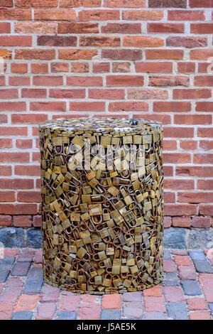 Padlocks, locks, in the shape of a chest, cylinder, love symbol, lock heart, love concept, valentine, heart padlock, - Stock Photo