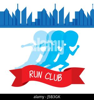 athletes running in competition championship around the city - Stock Photo
