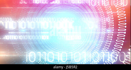 Spiral of shiny binary code against blue background with vignette - Stock Photo