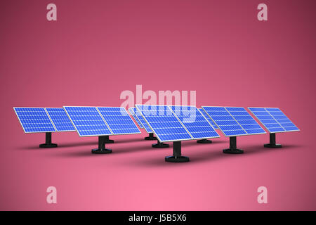 Image of 3D solar panels arranged in rows against red and white background - Stock Photo