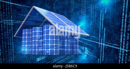 3d image of house made from solar panels and cells against illustration of virtual data - Stock Photo