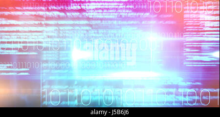 Blue technology design with binary code against blue background with vignette - Stock Photo