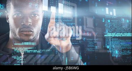 Hacker using digital screen against virus background - Stock Photo