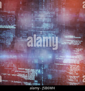 Image of data against overhead view of blocks - Stock Photo