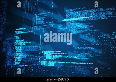 Blue codes against shiny arrows on black background - Stock Photo