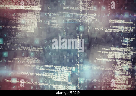 Image of data against graphic image of blocks - Stock Photo