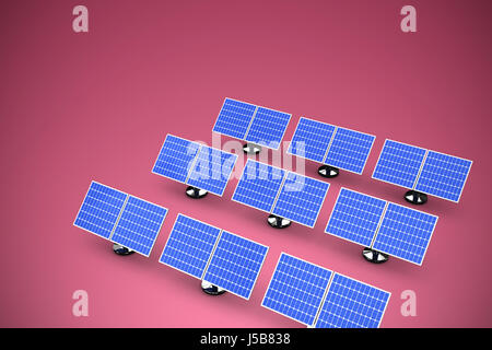 Image of 3D blue solar panel arranged in rows against red and white background - Stock Photo