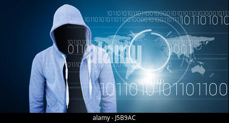 Robber wearing gray hoodie against blue background with vignette - Stock Photo