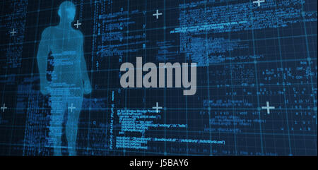 Digital composite image of 3d man against blue matrix and codes - Stock Photo