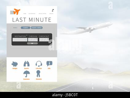 Digital composite of Holiday break App Interface with airplane - Stock Photo