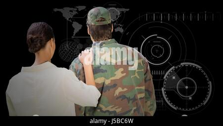 Digital composite of Back of soldier and wife against black background with interface - Stock Photo