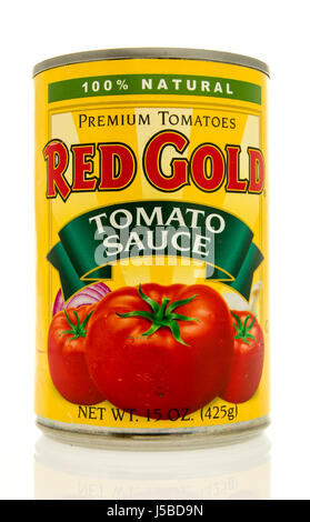 Winneconne, WI - 15 May 2017: A can of Red Gold tomato sauce on an isolated background. - Stock Photo