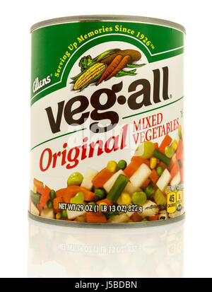 Winneconne, WI - 15 May 2017: A can of Allens Veg all original mixed vegetables on an isolated background. - Stock Photo