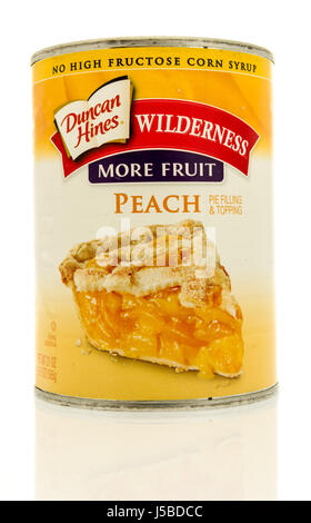 Winneconne, WI - 15 May 2017: A can of Duncan Hines peach filling on an isolated background. - Stock Photo