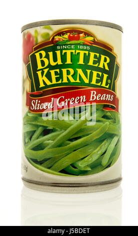 Winneconne, WI - 15 May 2017: A can of Butter Kernel sliced green beans on an isolated background. - Stock Photo