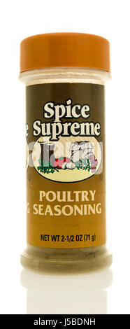 Winneconne, WI - 15 May 2017: A bottle of Spice Supreme poultry seasoning on an isolated background. - Stock Photo