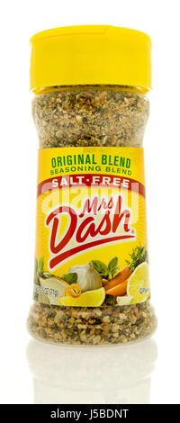 Winneconne, WI - 15 May 2017: A bottle of Mrs. Dash seasoning blend on an isolated background. - Stock Photo