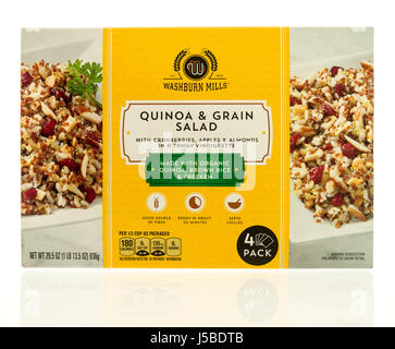 Winneconne, WI - 15 May 2017: A box of Washburn Mills Quinoa and grain salad on an isolated background. - Stock Photo