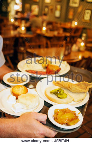 Florida Fort Ft. Pierce Cracker Barrel Restaurant business chain country store rural America food plates home-made - Stock Photo