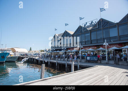 Fremantle,WA,Australia-November 13,2016: People eating at Kaili's Fish Market Cafe at the Fishing Boat Harbour in - Stock Photo