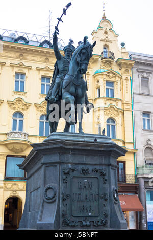 Ban Jelačić monument, main square, Zagreb, Croatia - Stock Photo