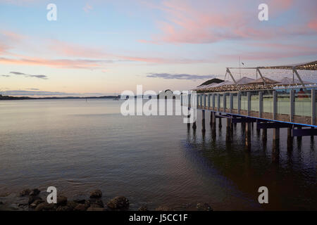 Wharf at night after sunset -  in Paihia, Bay of Islands, Northland, New Zealand - Stock Photo