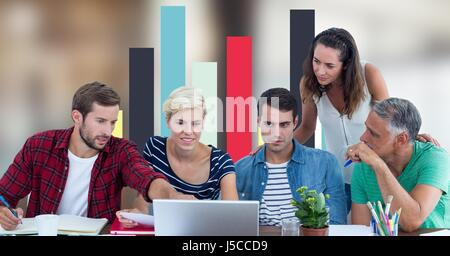 Digital composite of Business people discussing against graph - Stock Photo