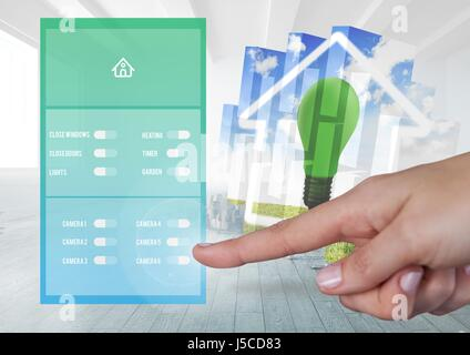 Digital composite of Hand touching a Home automation system App Interface - Stock Photo