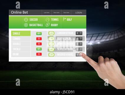 Digital composite of Hand touching a Betting App Interface stadium - Stock Photo
