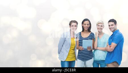 Digital composite of Portrait of happy friends with digital tablet against bokeh - Stock Photo