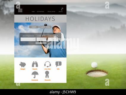 Digital composite of Golf holiday break App Interface - Stock Photo
