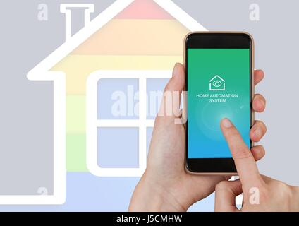 Digital composite of Hand touching mobile ohone with Home automation system App Interface - Stock Photo