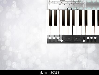 Digital composite of Piano keys with notes and effects App Interface - Stock Photo