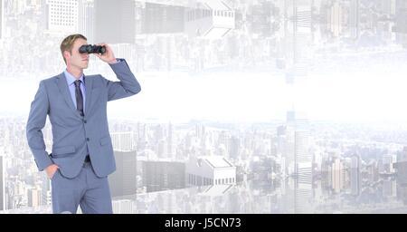 Digital composite of Businessman looking at upside down city through binoculars - Stock Photo