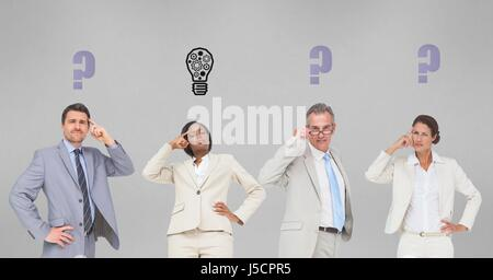 Digital composite of Business people with graphics over head - Stock Photo