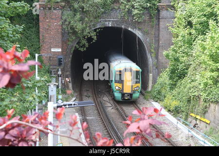 Train arriving at Lewes Station  Sussex - Stock Photo