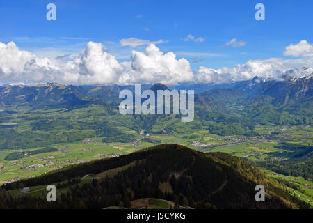 View from Rossfeldstrasse panorama road on German Alps near Berchtesgaden, Bavaria, Germany to valley in Austria. - Stock Photo