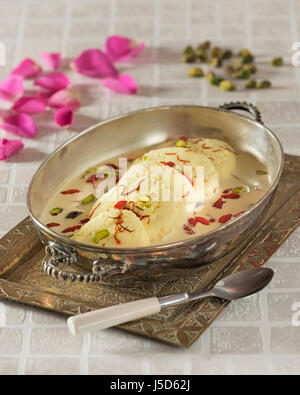 Rasmalai. Indian cream dessert. India Food - Stock Photo