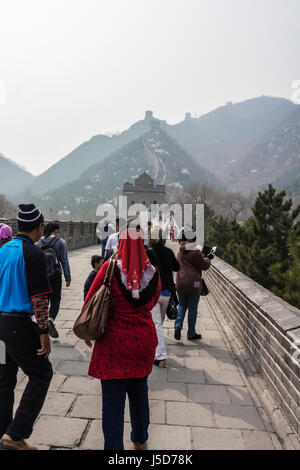 BEIJING, CHINA- CIRCA MARCH 2014:-The great wall stretches for over 4000km separating the China from Mongolia. - Stock Photo
