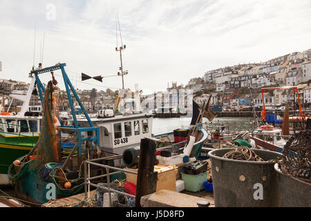 Close up of a fishing trawler in Brixham harbour, South Devon, England - Stock Photo